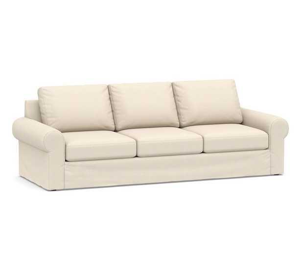 Big Sur Roll Arm Slipcovered Grand Sofa, Down Blend Wrapped Cushions, Sunbrella(R) Performance Sahara Weave Ivory - Pottery Barn