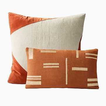 Cotton Linen & Velvet Corners & Metallic Blocks Pillow Cover Set, Copper, Set of 2 - West Elm