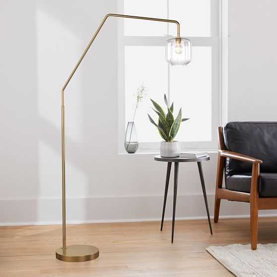 Sculptural Overarching Floor Lamp, Pebble Small, Clear, Antique Brass - West Elm