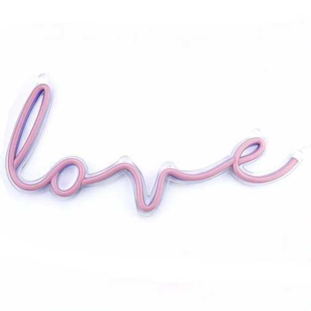 E-COMMERCE TRADE Love Cursive Plug-In LED Neon Lighted Wall Art Sign, Pink - Home Depot