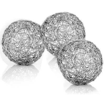 "5"" X 5"" X 5"" Shiny Nickel Silver Wire Spheres Box Of 3 - Wayfair"