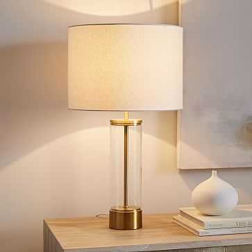 Acrylic Column Table Lamp + USB, Antique Brass - West Elm