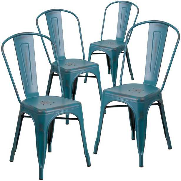 Carnegy Avenue Stackable Metal Outdoor Dining Chair in Kelly Blue-Teal (Set of 4) - Home Depot