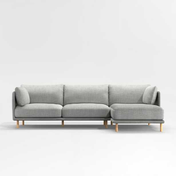 Wells 2-Piece Chaise Sectional with Natural Leg Finish - Crate and Barrel