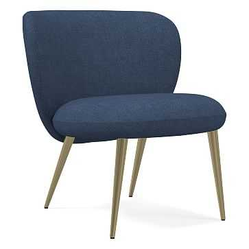 Ginger Chair, Performance Yarn Dyed Linen Weave, French Blue, Antique Brass - West Elm