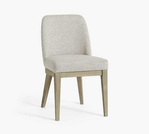 Layton Upholstered Dining Side Chair, Gray Wash Legs, Basketweave Slub Oatmeal - Pottery Barn