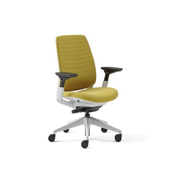 Steelcase Series 2 4-Way Armed Task Chair, Soft Casters Seagull Billiard Cloth; Citron - West Elm