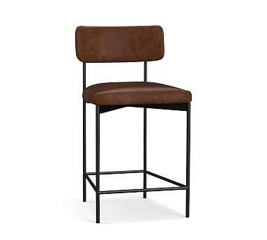 Maison Leather Counter Height Bar Stool, Bronze Leg, Vintage Cocoa - Pottery Barn