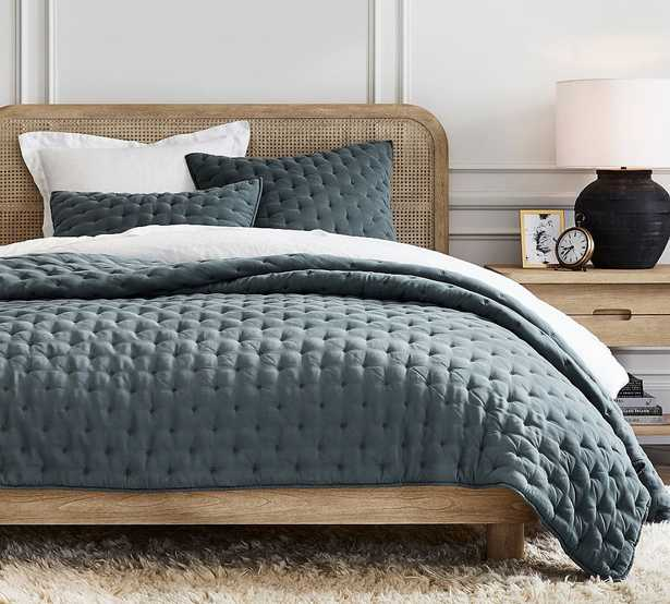 Steel Blue TENCEL(TM) Wrinkle-Resistant Quilt, King/Cal. King - Pottery Barn
