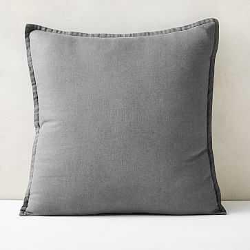 "European Flax Linen Pillow Cover, 24""x24"", Graphite - West Elm"