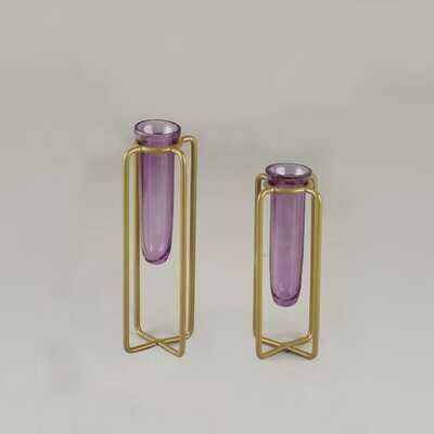 Bud Vases - Set Of 2 (Purple) - Wayfair