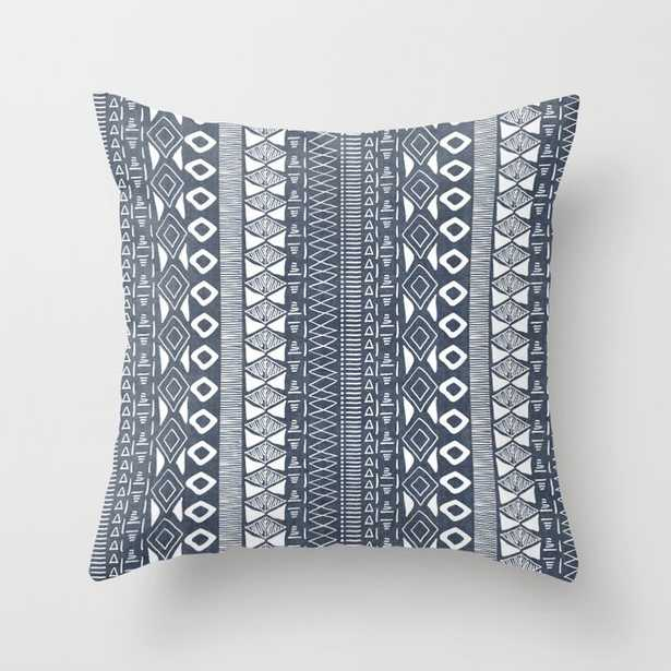 """Adobe In Navy Blue And White Couch Throw Pillow by Becky Bailey - Cover (20"""" x 20"""") with pillow insert - Outdoor Pillow - Society6"""