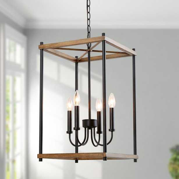 LNC Eniso 14 in. 4-light Black Iron Lantern Pendant Light with Painted Oak Accents - Home Depot