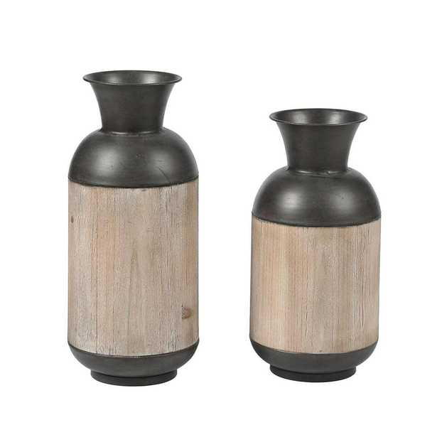 Winsome House 2-Piece Iron and Wood Vase Set - Home Depot