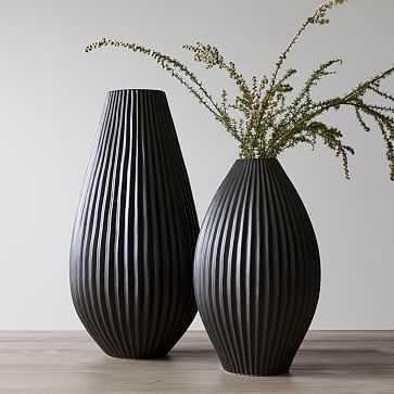 Sanibel Textured Black, Extra Large and Wide Tapered Vase, Set of 2 - West Elm