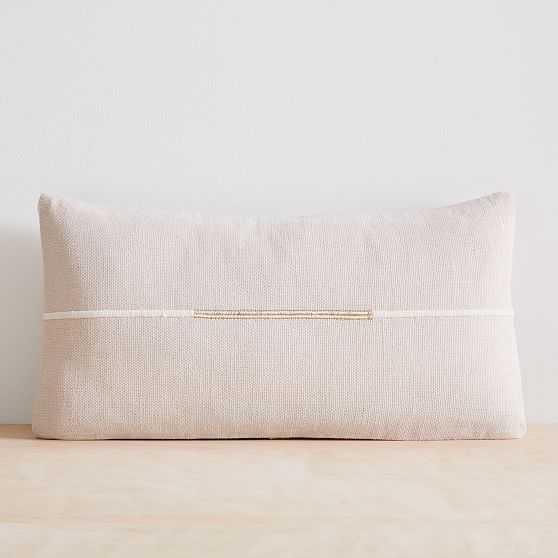 """Accented Cotton Canvas Lumbar Pillow Cover Set of 2, 14""""x26"""", Belgian Flax - West Elm"""