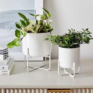 Spun Metal Tabletop Planters, White, Set of 2 - West Elm