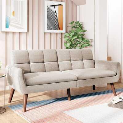 """74"""" Linen Blend Sleeper Sofa Bed With  Wooden Leg - Wayfair"""