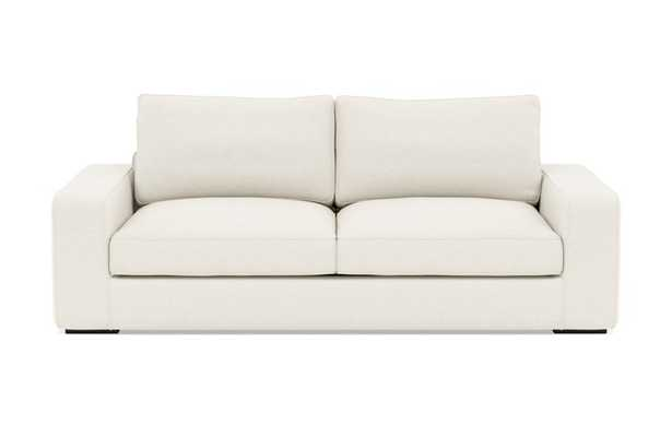 Ainsley Sofa with White Cirrus Fabric, down alt. cushions, and Matte Black legs - Interior Define