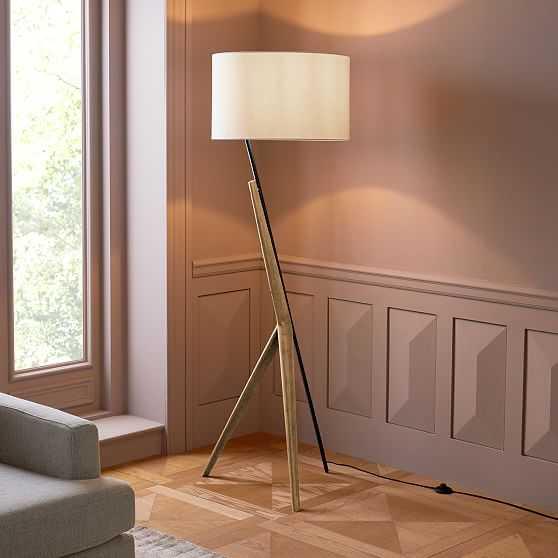 Caldas Floor Lamp, White Linen, Natural Ash - West Elm