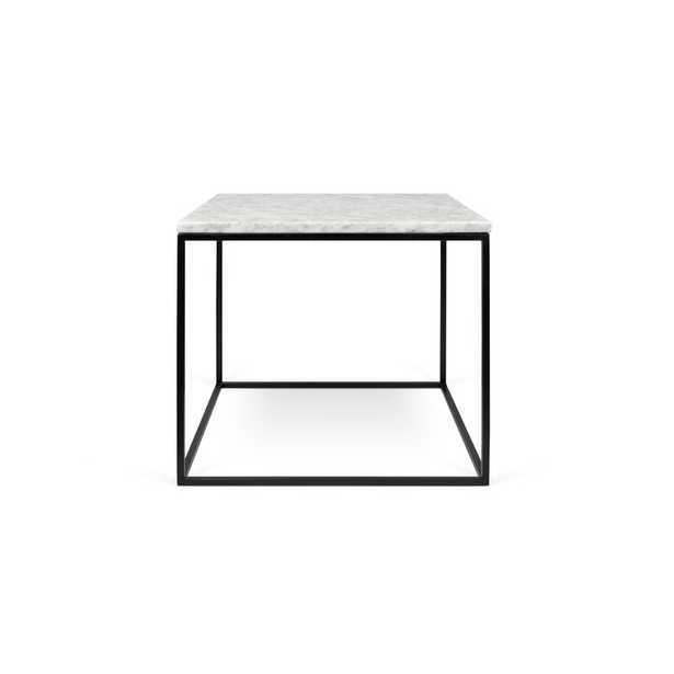 Gleam End Table Base Color: Black Lacquered Steel, Top Color: White Marble - Perigold