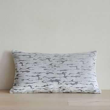 "Distressed Cut Velvet Pillow Cover, 12""x21"", Stone White - West Elm"