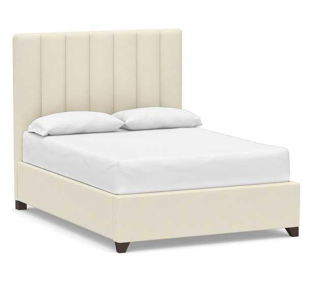 Kira Channel Tufted Upholstered Bed, California King, Park Weave Ivory - Pottery Barn