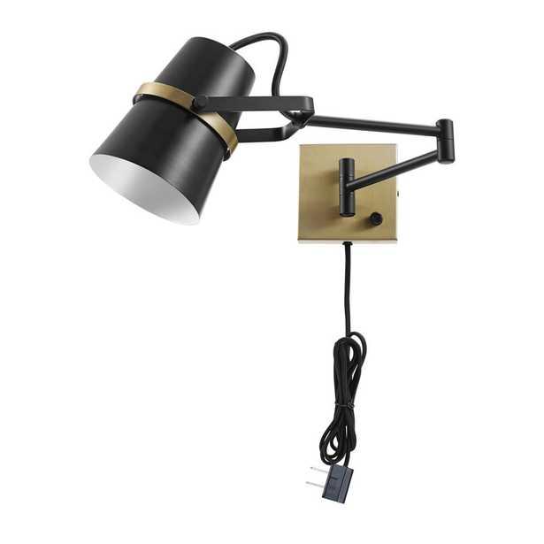 Globe Electric McKibbin 1-Light Matte Black Plug-In or Hardwire Swing Arm Wall Sconce - Home Depot