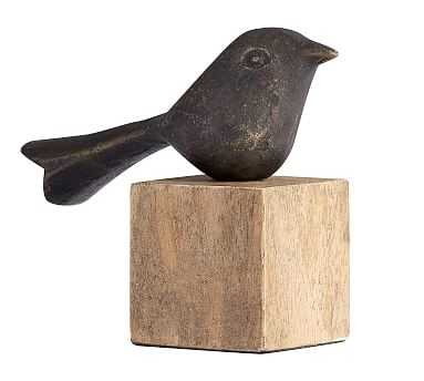 Decorative Bird on Wooden Stand, Bronze - Small - Pottery Barn