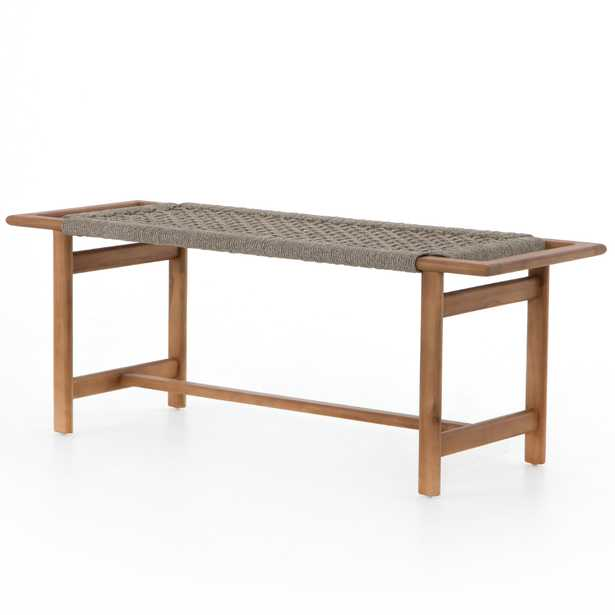 Holly Coastal Beach Natural Teak Wood Woven Seat Outdoor Bench - Kathy Kuo Home