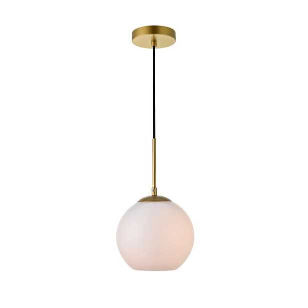 ELEGANT FURNITURE & LIGH Timeless Home Blake 1-Light Brass Pendant with 7.9 in. W x 7.1 in. H Frosted Glass Shade - Home Depot
