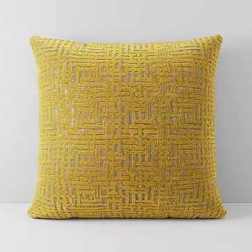 """Allover Crosshatch Jacquard Velvet Pillow Cover, 20""""x20"""", Dark Horseradish - West Elm"""