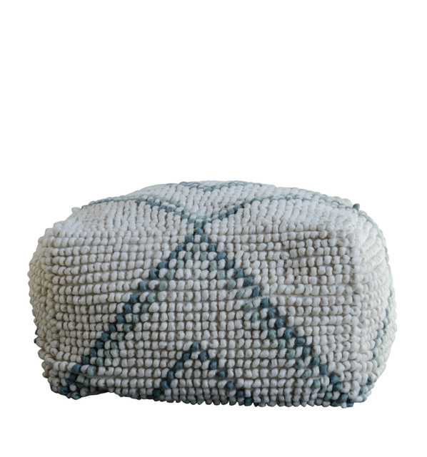 Cream New Zealand Pouf with Blue & Green Accents - Nomad Home
