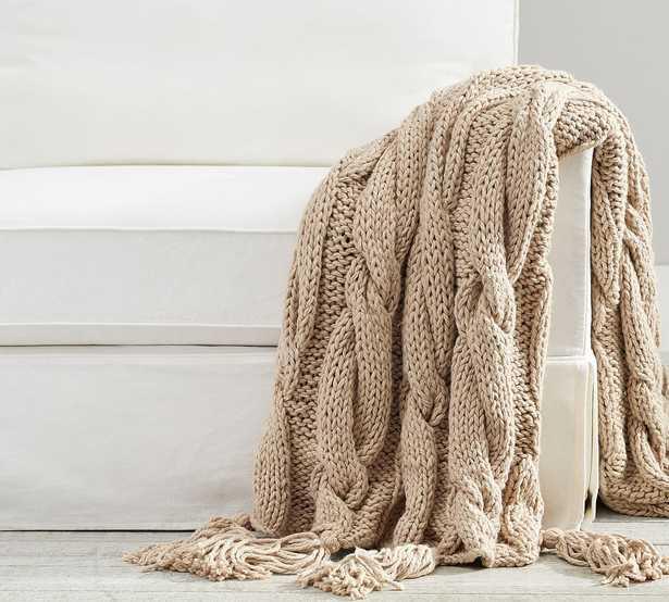 "Bluma Chunky Knit Tassel Throw, 50 x 60"", Neutral - Pottery Barn"
