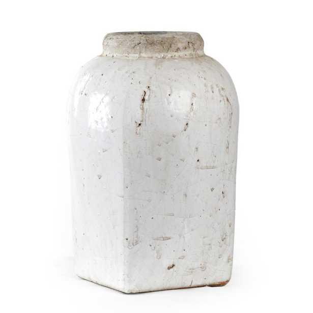 Zentique Stoneware Distressed White Medium Decorative Vase - Home Depot