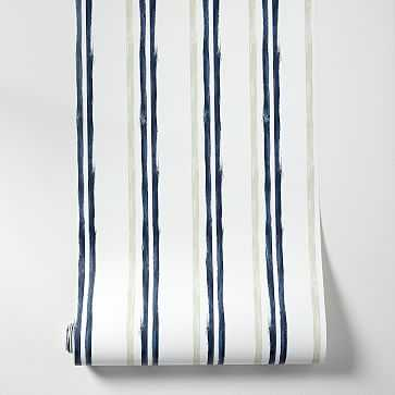 Repeating Stripes Wallpaper, White Midnight, Single Roll - West Elm