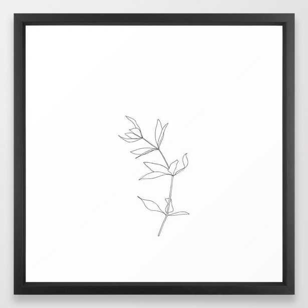 Plant Illustration Line Drawing - Primrose Framed Art Print by The Colour Study - Vector Black - MEDIUM (Gallery)-22x22 - Society6