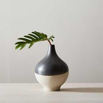 "Half Dipped Stoneware Vase, Slate, Big Bulb, 9.5"" - West Elm"