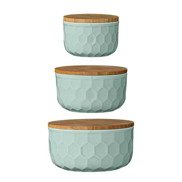 Set of 3 Round Mint Green Stoneware Bowls with Bamboo Lids - Moss & Wilder
