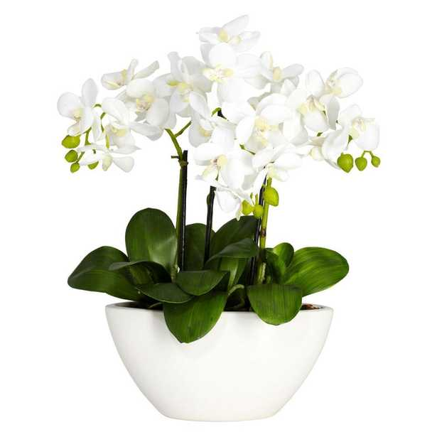 16 in. H White Phalaenopsis Silk Flower Arrangement - Home Depot