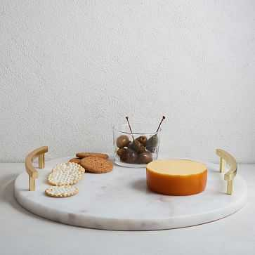Marble + Brass Round Cheese Board, Gold - West Elm