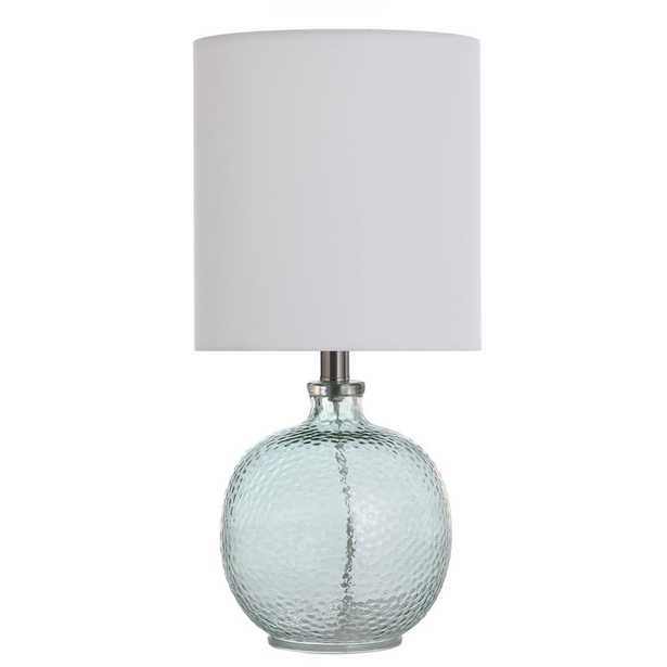 StyleCraft 20 in. Light Aqua Blue Table Lamp with White Hardback Fabric Shade - Home Depot