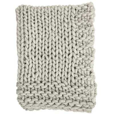 Clotilde Chunky Blend Knit Wool Throw - Birch Lane