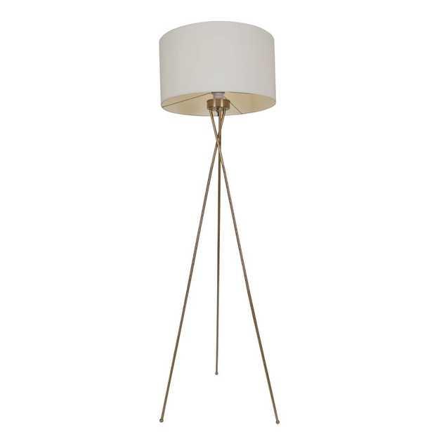 Warehouse of Tiffany Meela 19 in. 1-Light Indoor Polished Brass Floor Lamp - Home Depot