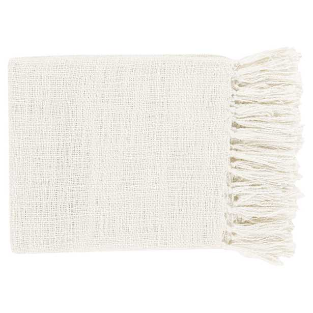Angelie Modern Classic White Woven Throw Blanket - Kathy Kuo Home
