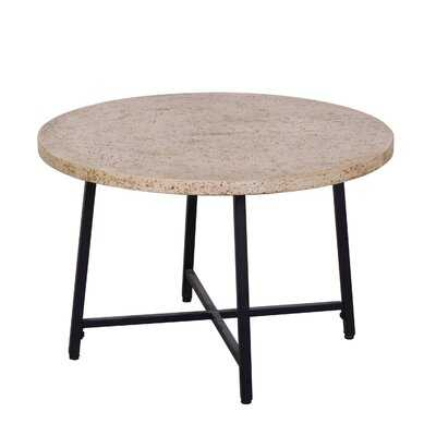 Travertine Stone-Look Concrete Round Coffee Table With Steel Base - Wayfair