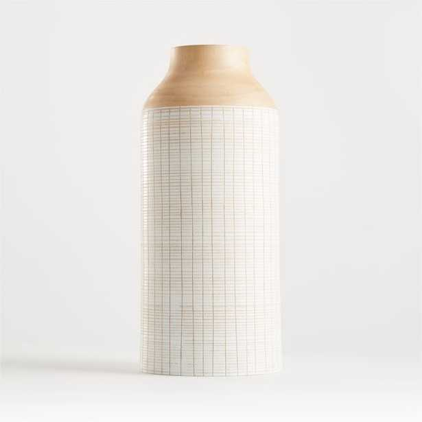 """Soto White Wood Vase 16"""" - Crate and Barrel"""