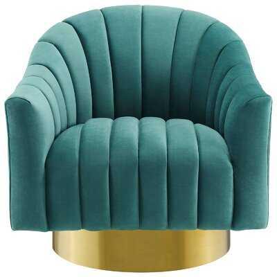 Raymon Performance Velvet Swivel Barrel Chair - Wayfair