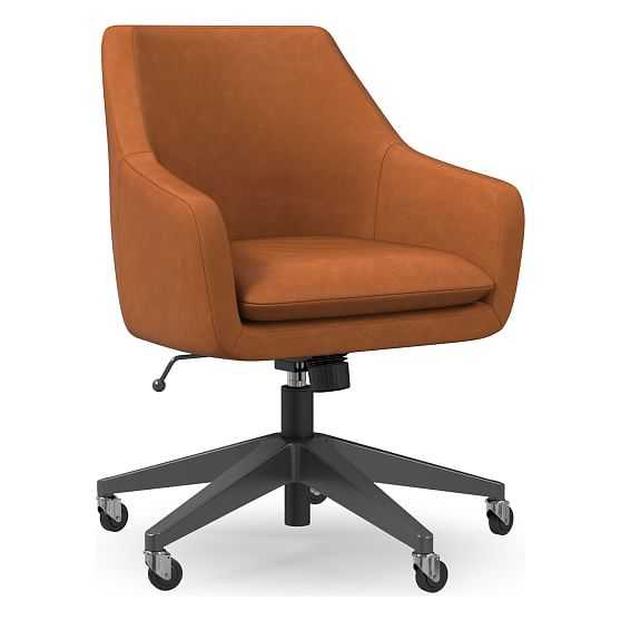 Helvetica Office Chair, Vegan Leather, Saddle, Antique Bronze - West Elm
