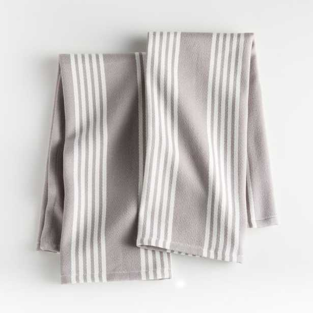 Grey Stripe Dish Towels, Set of 2 - Crate and Barrel